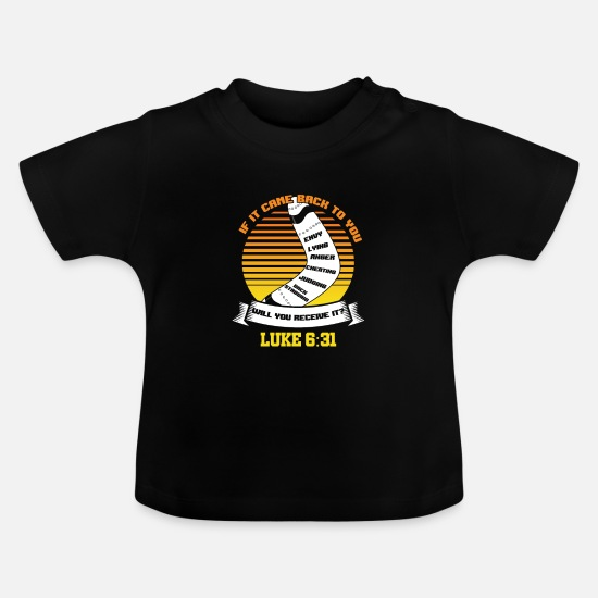 Birthday Present Baby Clothes - Bible Verse Boomerang Flat Wooden Missile - Baby T-Shirt black