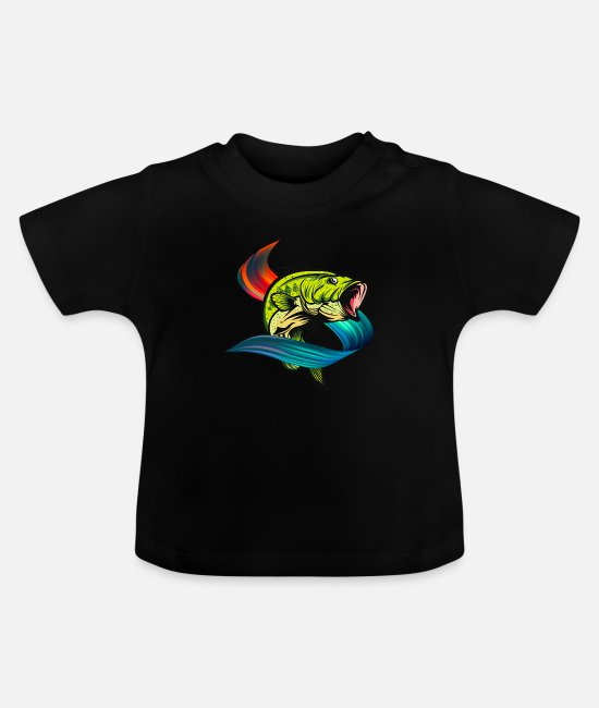 Love Baby Clothes - Colorful Fish Animal Lover Fishing Fish Gift - Baby T-Shirt black