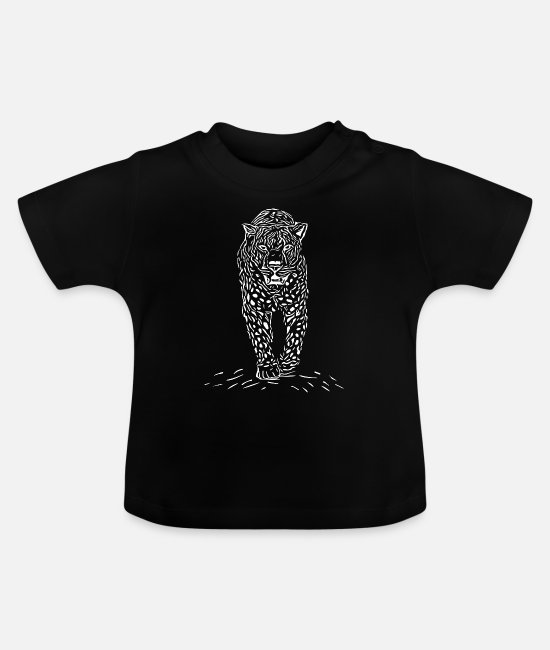 Grote Kat Baby shirts - Leopard vintage - Baby T-shirt zwart