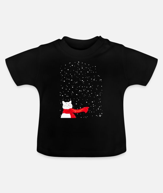 Cat Lady Baby T-Shirts - White Snowcat - Cat in Snowfall with a red scarf - Baby T-Shirt black