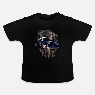 School Beginner Vintage pickup truck blue gold 100 - Baby T-Shirt