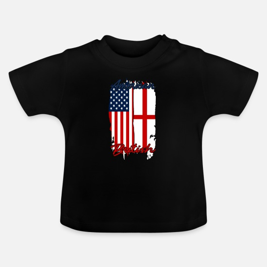 New York Baby Clothes - Half USA Half England - Baby T-Shirt black
