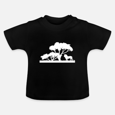 Cloud Nature Logo Lion Trees Hiking Gift White - Baby T-Shirt