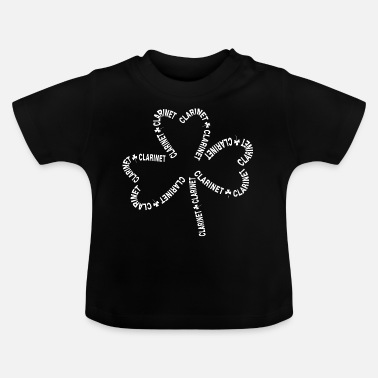 Word Clarinet White Text Shamrock - Baby T-Shirt