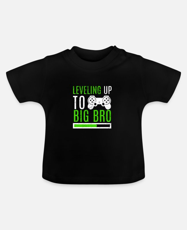 Big Baby shirts - Big Brother Level Up Brothers Familie Pasgeboren - Baby T-shirt zwart
