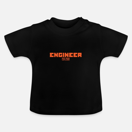 Established Baby Clothes - Engineer established 2019 gift - Baby T-Shirt black