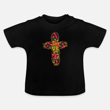 Religious A cross from summer flowers religion jesus god - Baby T-Shirt