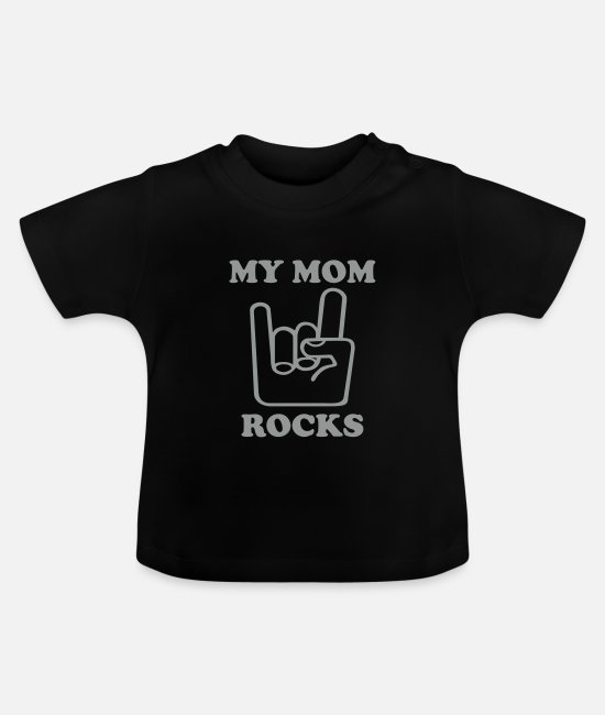 Heavy Baby T-Shirts - My Mom Rocks - Baby T-Shirt Schwarz