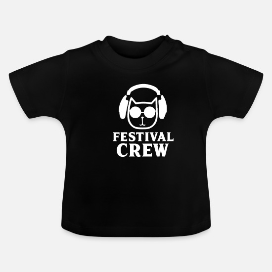 Bass Baby Clothes - Festival cat t shirt - Baby T-Shirt black