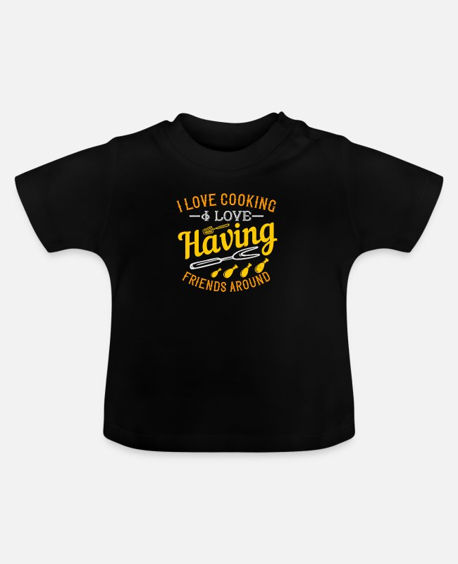 Art Baby T-Shirts - Cooking saying cook cook - Baby T-Shirt black