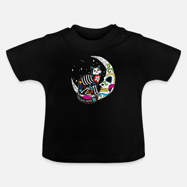 Cat Sugar Skull Cat And Moon Day of The Dead Cat Mom - Baby T-Shirt