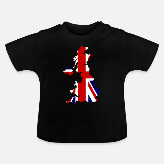 Kærlighed Babytøj - UK Map Flag - Baby T-shirt sort