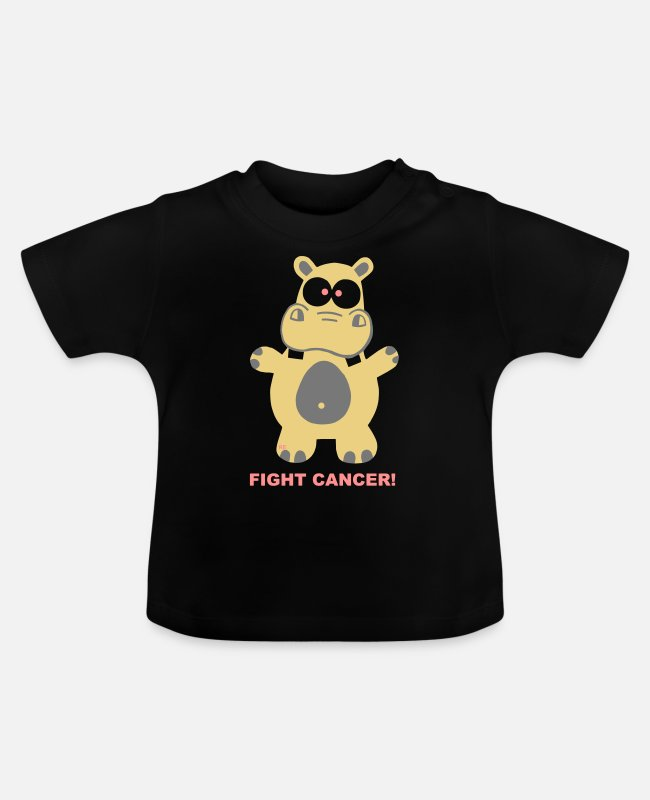 Mummy Baby T-Shirts - Hippo Fight Cancer Breast Cancer Hippo Chemo - Baby T-Shirt black