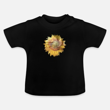 Sunflower drawn with summer background - Baby T-Shirt