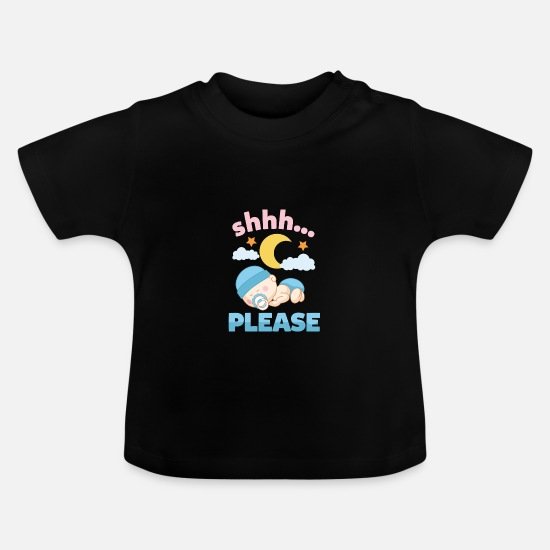 Gift Idea Baby Clothes - Shhh baby is sleeping sweet - Baby T-Shirt black