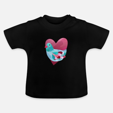 Ecology Dove colorful in watercolor with heart feeding pigeons - Baby T-Shirt