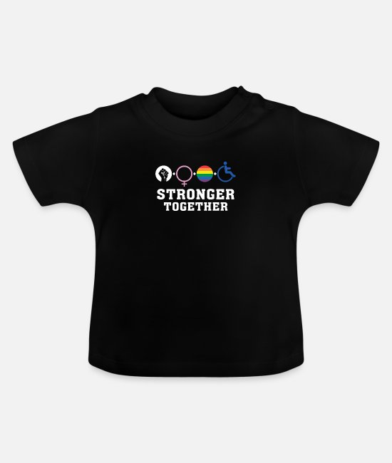 Gay Pride Baby T-Shirts - Stronger Together - Baby T-Shirt black