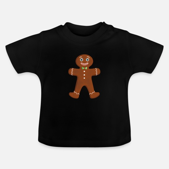 Snowman Baby Clothes - Gingerbread man / gingerbread man - Baby T-Shirt black