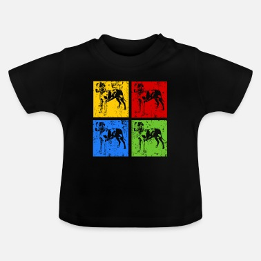 Male Puppy Dog Puppy Great Dane Pop Art Retro Grunge Silhouette - Baby T-Shirt