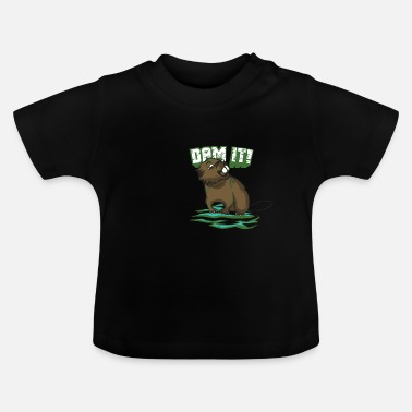 Castor gracioso diciendo camiseta: Dam It yo regalo - Camiseta bebé
