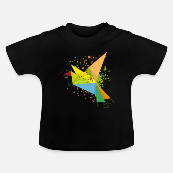 Art Baby Clothes - A colorful origami bird - Baby T-Shirt black