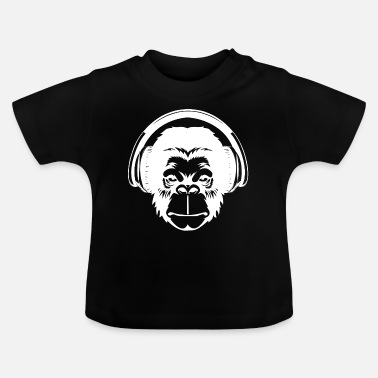 Charade Monkey head with headphones - Baby T-Shirt