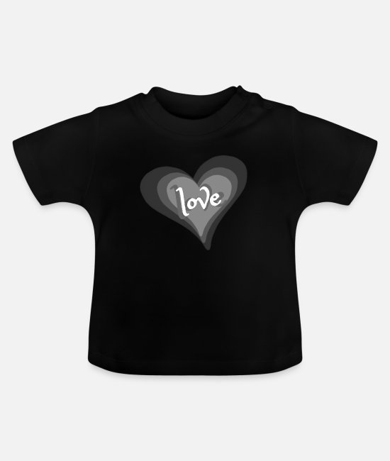 Love With Heart Baby T-Shirts - Love with Heart - Baby T-Shirt Schwarz