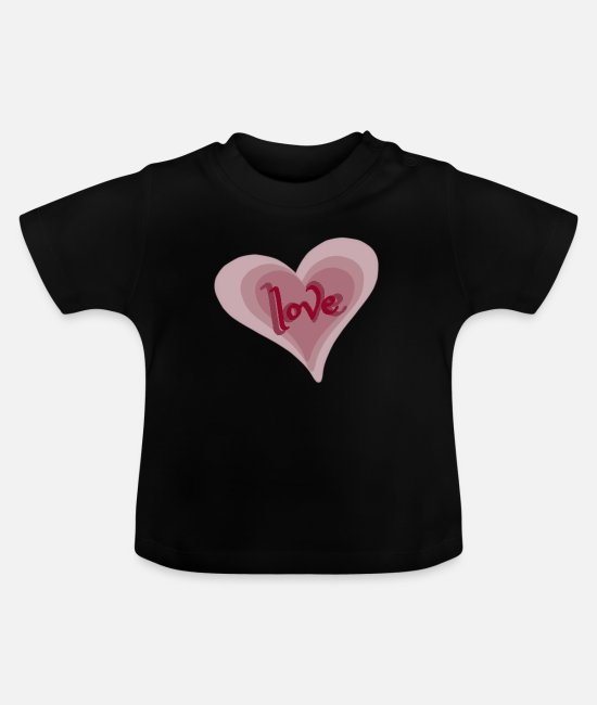 Heart Baby T-Shirts - Love with Heart - Baby T-Shirt Schwarz