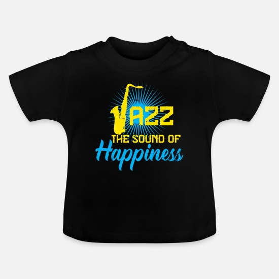 Style Of Music Baby Clothes - Saxophone Jazz Music Band Musical Instrument Sheet Music - Baby T-Shirt black