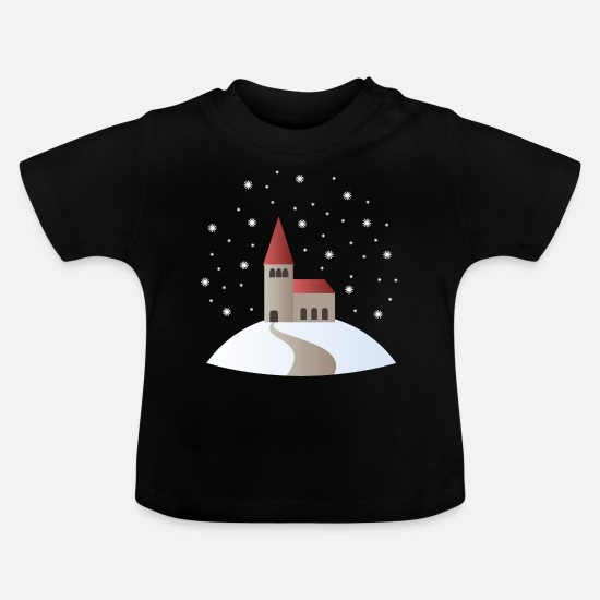 Gift Idea Baby Clothes - Church in the snow - Baby T-Shirt black