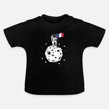 French Flag Astronaut with French flag on the moon - Baby T-Shirt