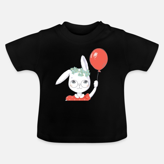 Easter Baby Clothes - Cute easter bunny balloon gift - Baby T-Shirt black