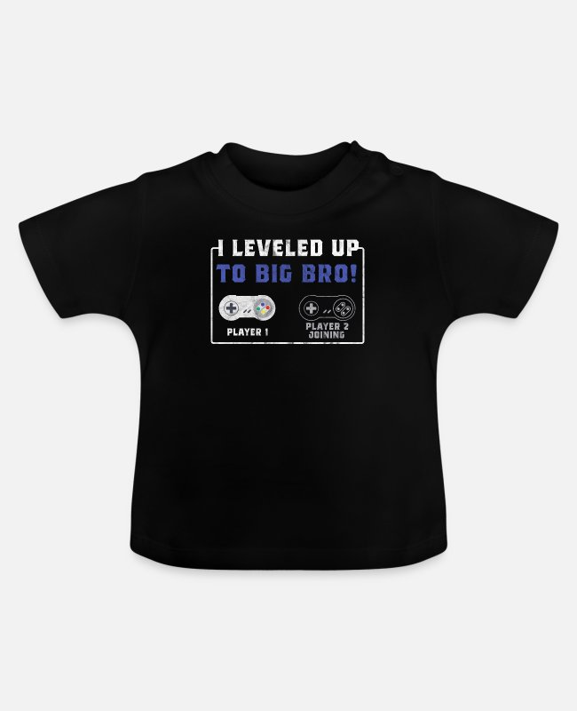 Videogame Baby shirts - Level Up Gamer Gambler Big Bro Brother Gift - Baby T-shirt zwart