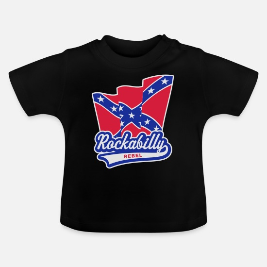 Rockabilly  Babykleding - Rockabilly Rebel Vlag - Baby T-shirt zwart