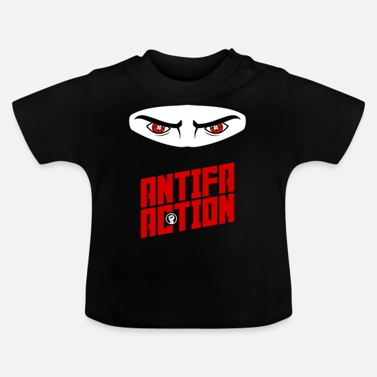 Anti Racism Baby Clothes - Antifa Action - Ninja - Baby T-Shirt black