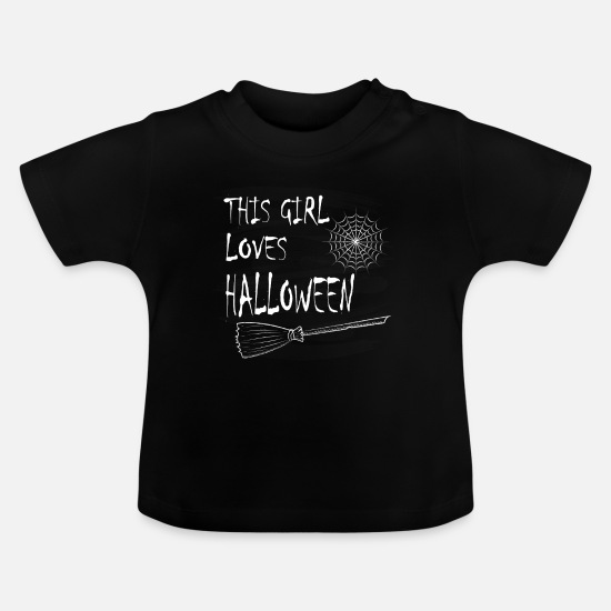 Halloween T Shirt Baby Clothes - Halloween - This girl loves halloween - Baby T-Shirt black