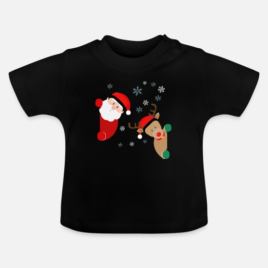 Mulled Wine Baby Clothes - The Santa Claus and Rudolph look already around d - Baby T-Shirt black