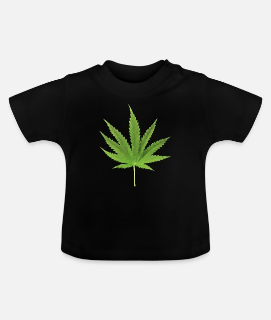 Hemp Baby T-Shirts - Hemp leaf low polygon effect - Baby T-Shirt black