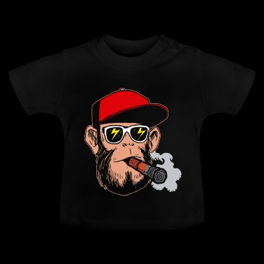 Smoking hipster monkey - gift grass kippers - Baby T-Shirt