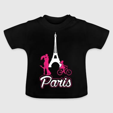 Paris Love Neon Pink French Lover Barncykling - Baby-T-shirt