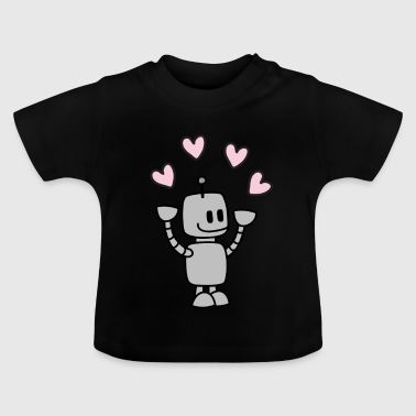 Funny robot juggles with heart - Baby T-Shirt