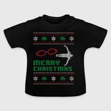 Funny Swim Swimming Shirt Merry Christmas - Baby T-Shirt