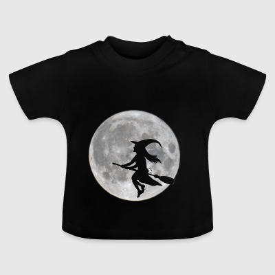 Flying witch in front of moon - Baby T-Shirt