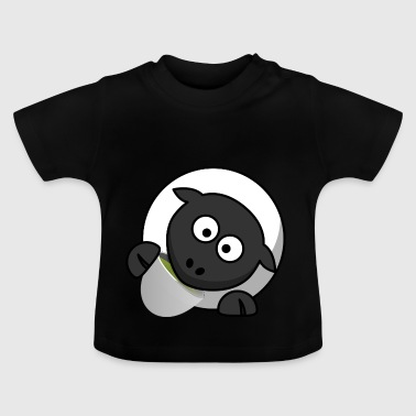 Funny sheep drinking tea comic style - Baby T-Shirt