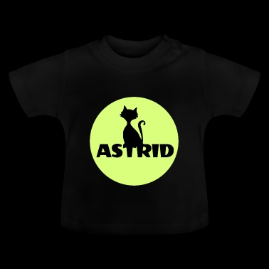 Astrid Name Katze Vollmond Namenstag - Baby T-Shirt