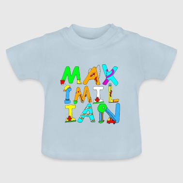 Maximilian's name in cool fire brigade letters - Baby T-Shirt