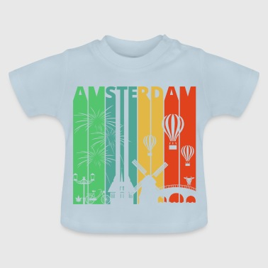 Vintage Retro Amsterdam.Explore.Holland.Europe. - Baby T-shirt