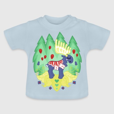 Blue Dalaälg - a moose with saddle - Baby T-Shirt