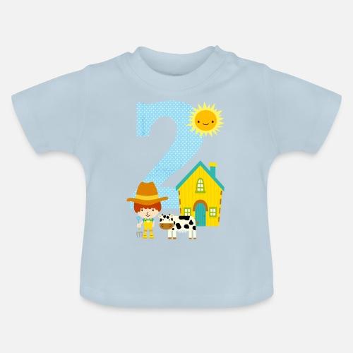 Birthday Number 2 Farm Boy Baby T Shirt