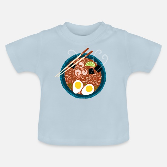 Lunch Baby Clothes - Ramen Noodles for Lunch - Baby T-Shirt light blue